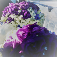purple lisianthus and babies breath