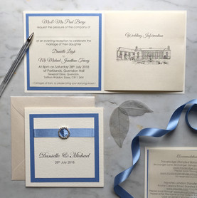 Cornflower blue and ivory elegant bookle
