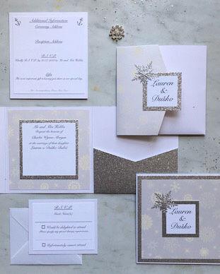 elegant winter wedding snowflake invitat