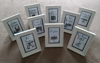 Framed table names with illustration