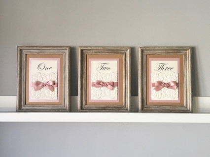 ivory and dusky pink rustic table number