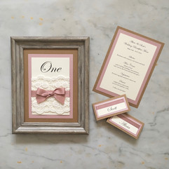 Table stationery in ivory, pink, kraft