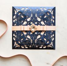 navy blue laser cut elegant invitation