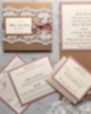 rustic lace pocketfold invite in blush.j