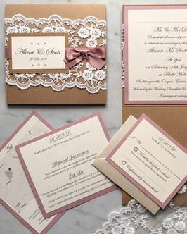 rustic lace pocketfold invite in blush
