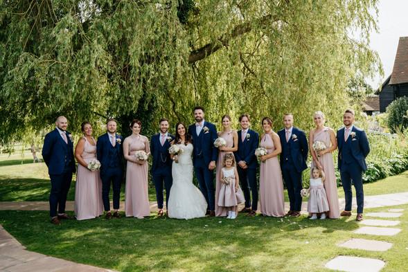 navy and blush bridal party