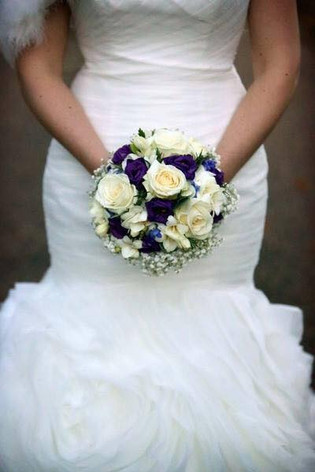 bridal bouquet in purple and white