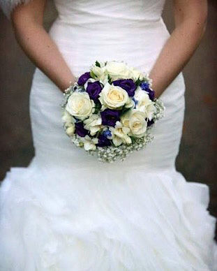 winter white and purple compact wedding
