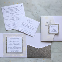 silver glitter winter wedding invite