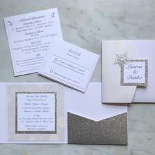 silver glitter winter wedding invite
