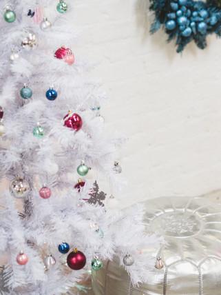 white christmas tree with jewel decor