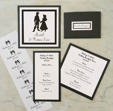 movie couples themed wedding stationery