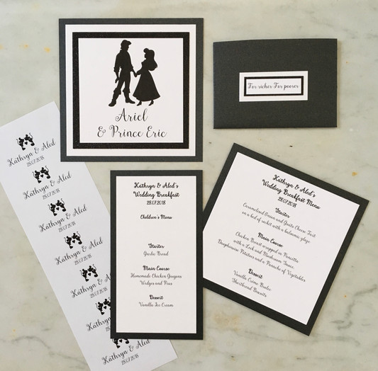 movie couples themed wedding stationery