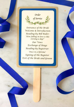 Summer woodland wedding fan style order of service