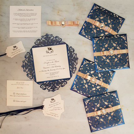 Navy Laser cut invites with rose gold