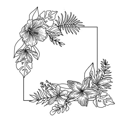 tropical frame line drawing