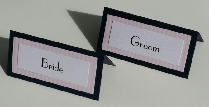 Navy and pale pink place cards