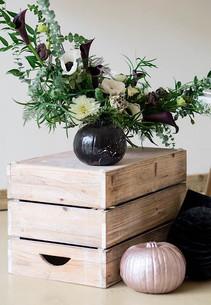 Modern monochrome Halloween Floral Design