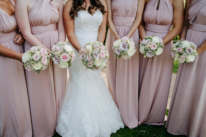 white and dusky pink wedding dresses