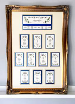 Ornate gold framed table planner for a woodland wedding