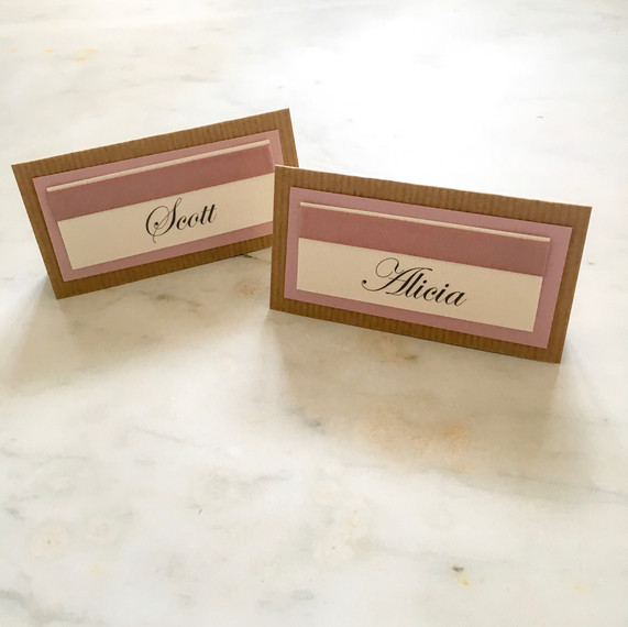 dusky pink and kraft rustic placecards