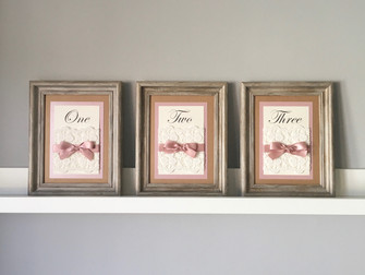 Framed table numbers for a barn wedding