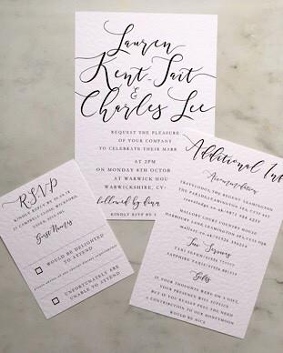 modern calligraphy simple wedding invita