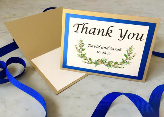 Elegant wedding stationery thank you card
