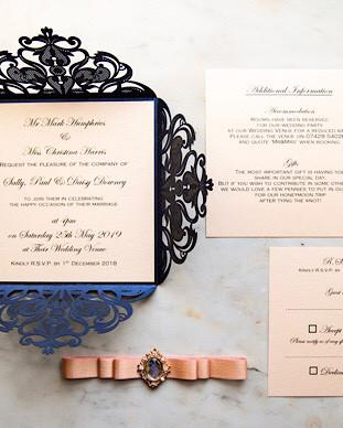 luxury laser cut navy wedding invitation