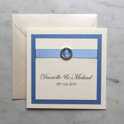 Simple luxury blue and ivory wedding inv