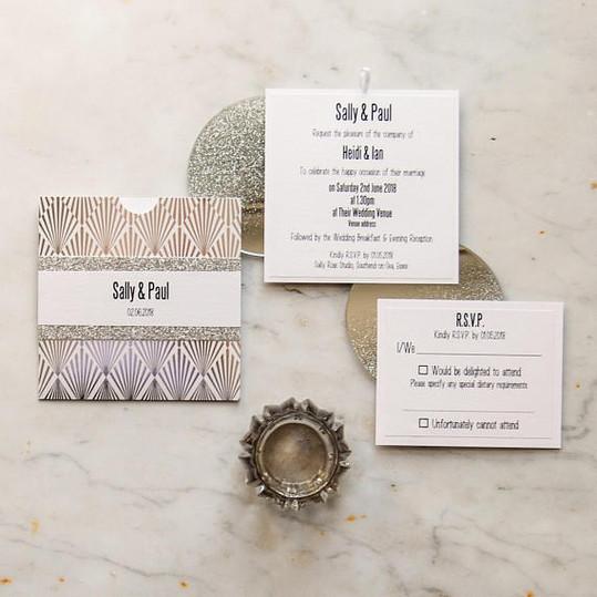 art deco style wallet invite