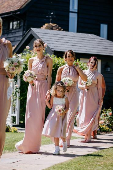 blush pink and ivory bridesmaid dresses