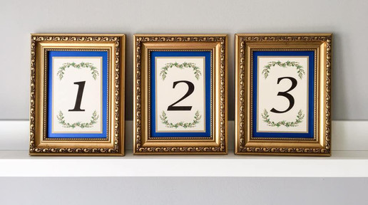 Gold and Royal Blue framed table numbers
