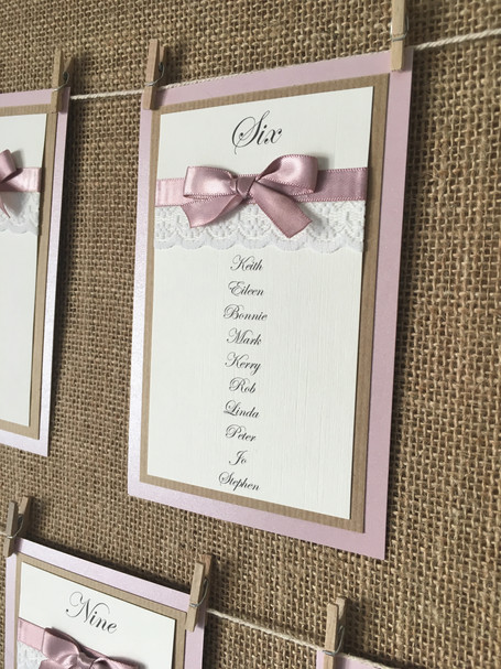 dusky pink and hessian table plan