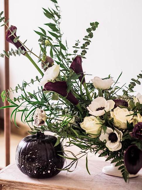 modern monochrome flower arrangement