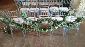 chair back eucalyptus garland