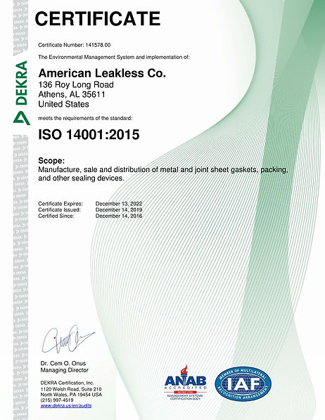 American Leakless Co. 14001 Renewal Cert