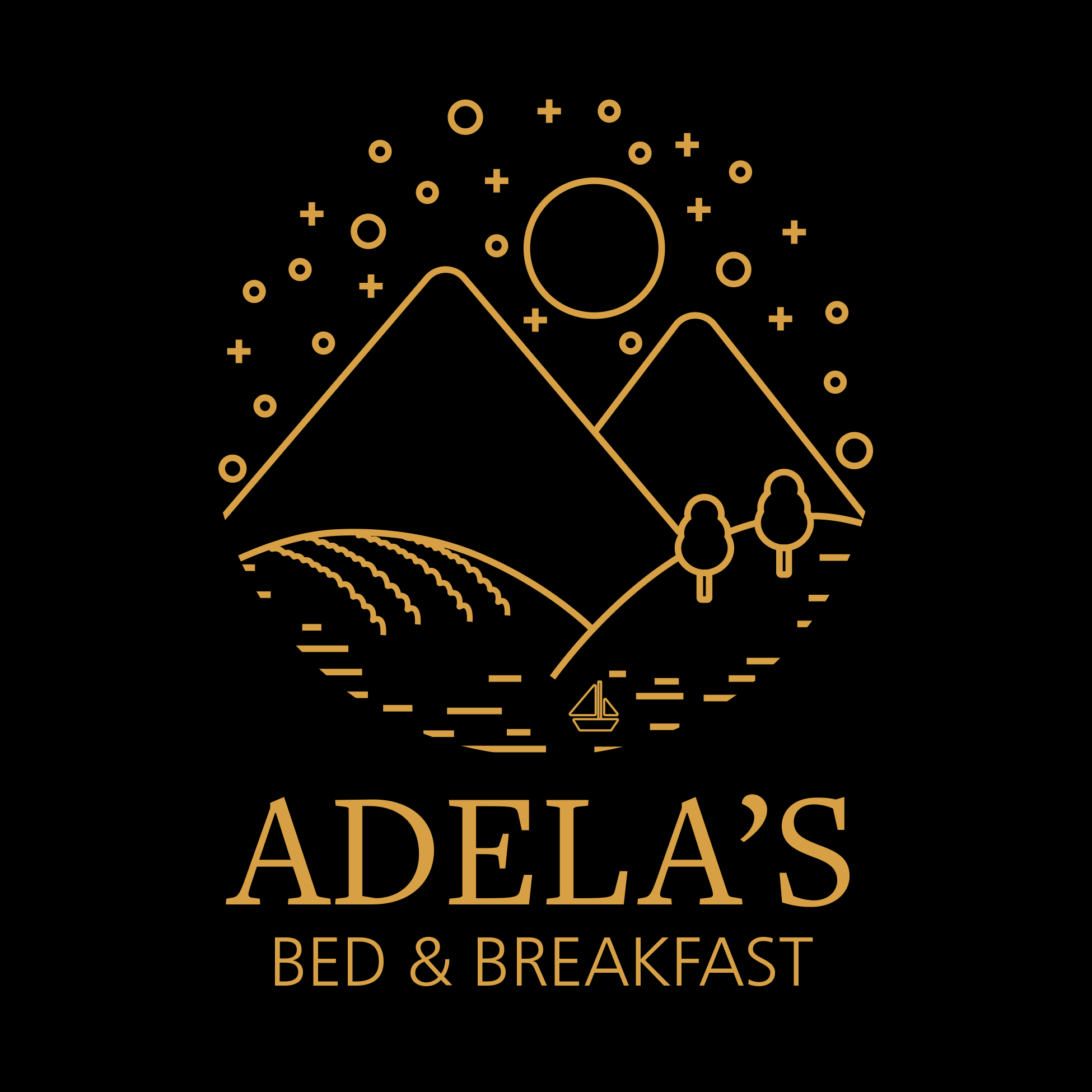 Adela's Logo (Gold on Black)