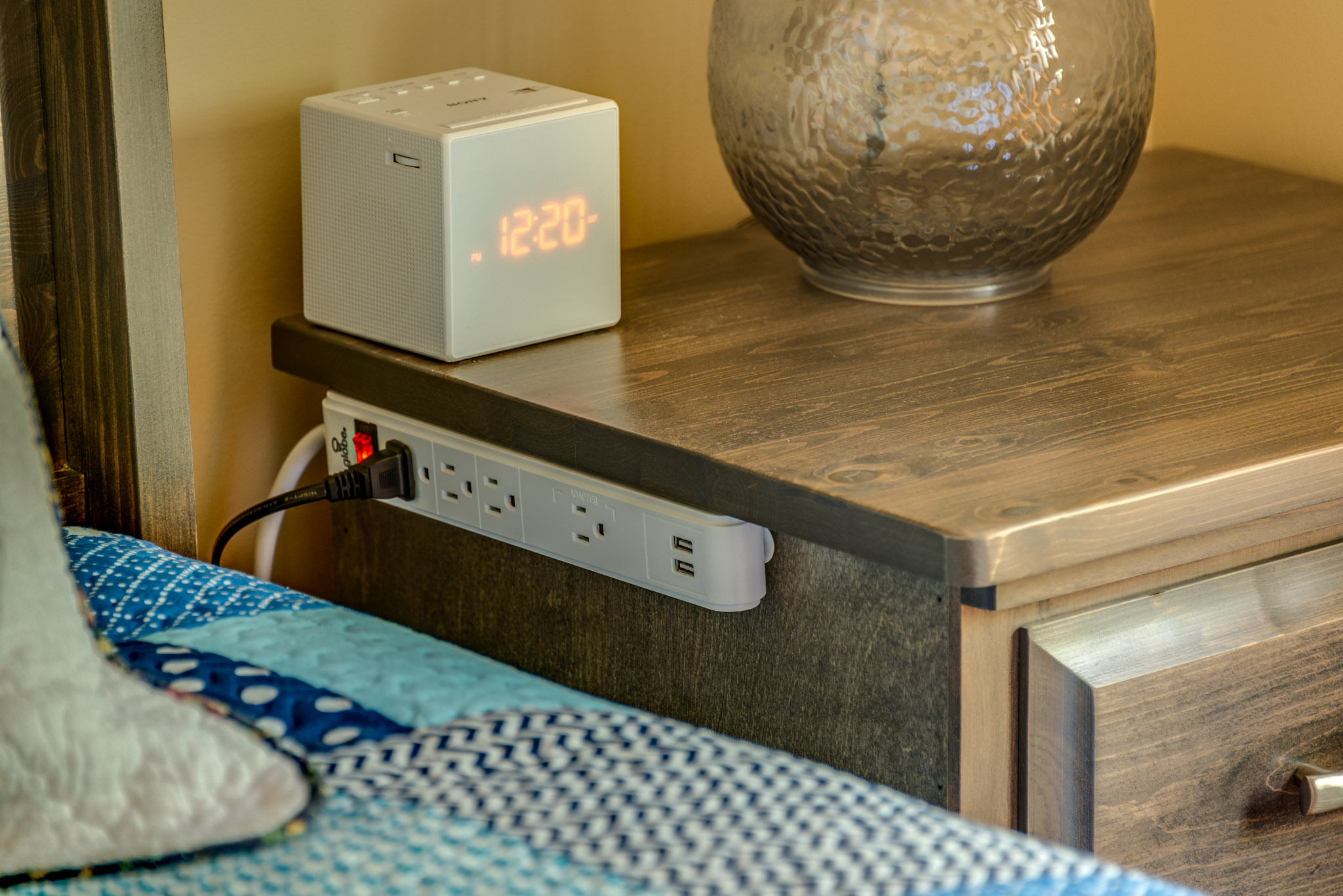 Bedside USB and 120V outlets
