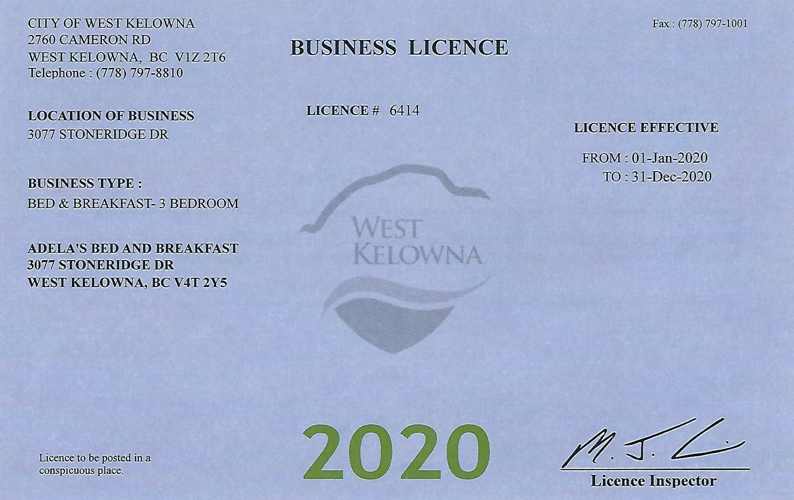 2020 Business License