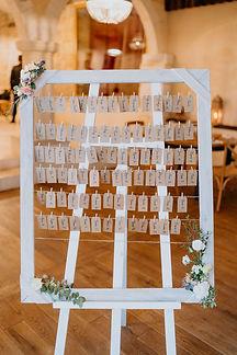 Plan de table sur un cadre simple décoré de fleurs avec ces escort card