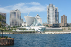 A picture of Milwaukee's skyline from across lake