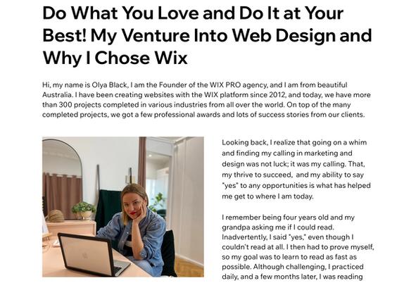 Olya's article for the International Wix Community Blog