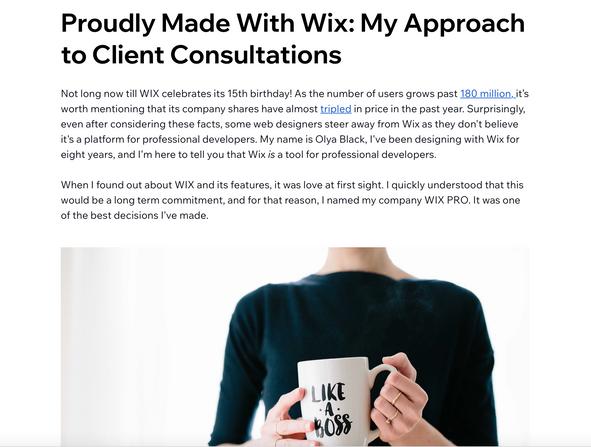 Публикация в Wix блоге о том за что мы любим Викс