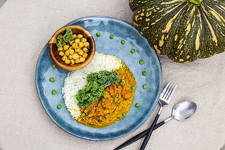 Curry Smashing Pumpkin with White Rice