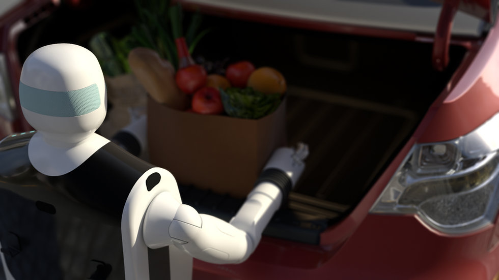 Gary the service robot holds basket of fruits