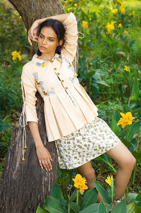 Mustard Brown & Blue Pleated Jacket with Printed Skirt