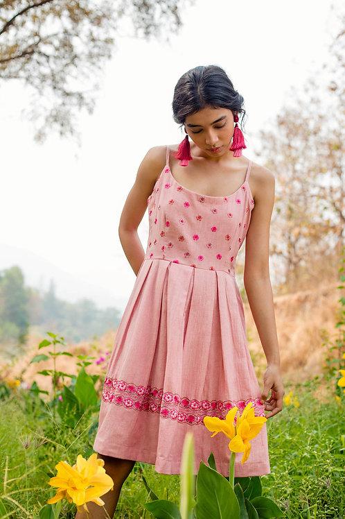 Pink Knee Length Strap Dress