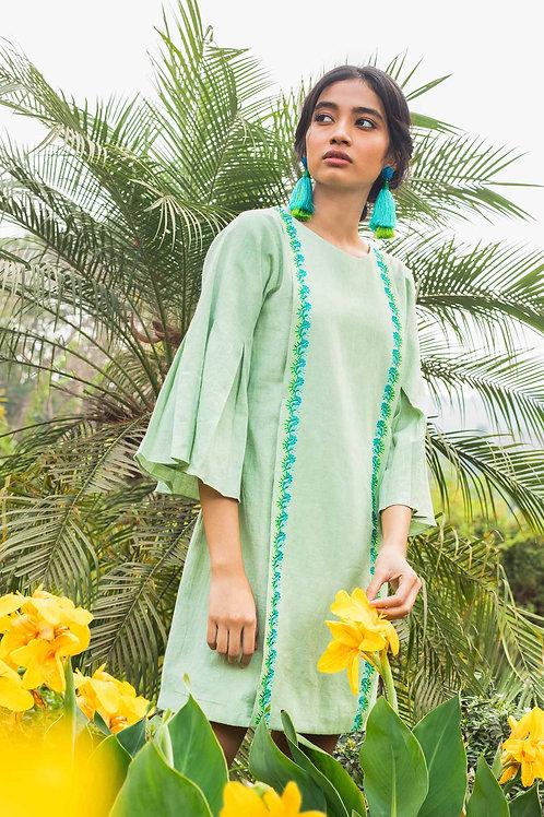 Green Box Pleat Dress