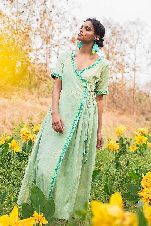 Green Cross Body Dress